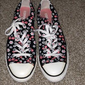 Converse Black Cherry Print Low Top Sneakers Sz 9